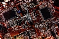 Placa base del ordenador en detalles - foto de stock