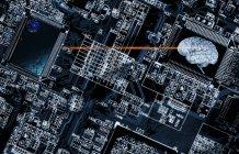Circuitos de la computadora y el cerebro humano - foto de stock