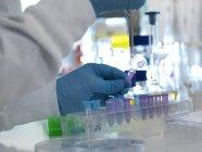 Tapa de cierre científico de vial durante la prueba de laboratorio - foto de stock