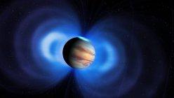 Illustrazione di Giove con campo magnetico associato . — Foto stock