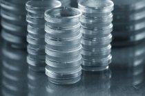 Piastre di agar impilati su sfondo semplice. — Foto stock