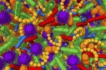 Illustrazione concettuale dei microbi del microbioma umano, quadro completo . — Foto stock