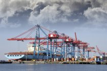 Container ship loading with cargo by large container cranes. — Stock Photo