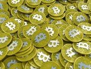Nahaufnahme von Bitcoins, digitale illustration — Stockfoto