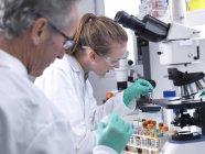 Wissenschaftler bereiten Blutprobe für Analyse unter Lichtmikroskop vor. — Stockfoto