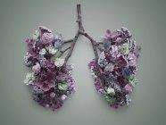Весенние цветы, представляющие нездоровые легкие человека, концептуальный студийный снимок . — стоковое фото