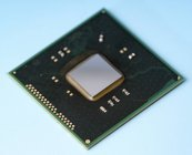Кремній інтегральної мікросхеми на синьому фоні. — стокове фото