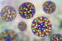 Ilustración digital de partículas del núcleo del virus de la fiebre catarral ovina con proteínas representada por manchas de color. - foto de stock