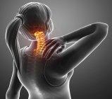 Silueta femenina con dolor de cuello, ilustración digital . - foto de stock