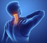 Silueta masculina con dolor de espalda, ilustración digital . - foto de stock