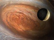 Ilustración de la luna joviana Io vista contra el telón de fondo de Júpiter Gran Mancha Roja . - foto de stock