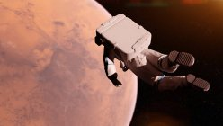 Illustration of astronaut in space suit flying in front of Mars surface. — Stock Photo
