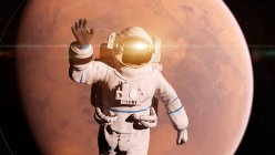 Illustration of astronaut with light reflection flying in front of Mars surface. — Stock Photo
