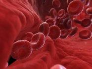Ilustración de células sanguíneas en arteria lesionada . - foto de stock