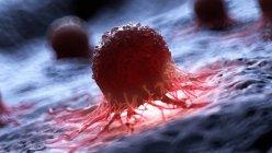 Цифровой рисунок светящихся красных раковых клеток человека . — стоковое фото
