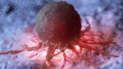 Ilustración de células cancerosas rojas iluminadas . - foto de stock