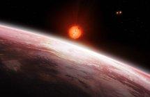 Vista desde el interior de dos exoplanetas orbitando la estrella enana roja Gliese 667 C en el sistema Gliese 667 . - foto de stock