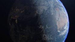 Planeta Tierra con luces de día y de noche, ilustración digital . - foto de stock