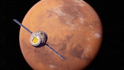 Illustration of research satellite flying in front of Mars planet red surface. — Stock Photo