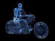 3d ilustración renderizada del esqueleto del motorista sobre fondo negro . - foto de stock