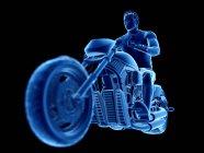3D оказана иллюстрация мужского байкера на черном фоне . — стоковое фото