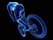 3d renderizado ilustración de ciclista masculino sobre fondo negro . - foto de stock
