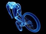 3d renderizado ilustración de esqueleto en silueta de ciclista masculino sobre fondo negro . - foto de stock
