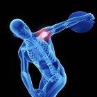 3d renderizado ilustración de atleta masculino con disco y hombro doloroso . - foto de stock
