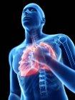 3d renderizado ilustración de silueta azul del hombre con pulmones inflamados sobre fondo negro . - foto de stock