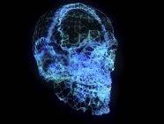 Ilustración de cráneo de plexo abstracto sobre fondo negro . - foto de stock