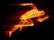 Illustration of male sprinter orange silhouette on black background. — Stock Photo