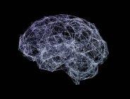 Brain shaped network on black background, digital illustration. — Stock Photo