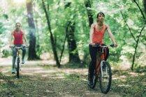 Женщины вместе ездят на велосипедах в солнечном парке . — стоковое фото