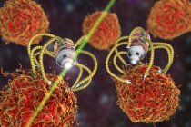 Illustrazione digitale concettuale di nanorobot medici che attaccano le cellule cancerose . — Foto stock
