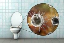 Micróbios sanitários na superfície do assento contaminada, ilustração digital conceitual . — Fotografia de Stock