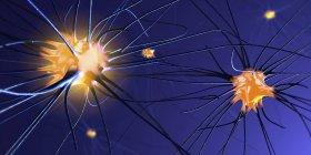 Абстрактная 3D иллюстрация нервных клеток со связями в нервной системе человека . — стоковое фото
