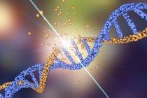 Daño a la molécula de ADN coloreado, trastorno genético ilustración conceptual . - foto de stock