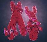 Ilustración 3d de cromosomas X y Y rotos o defectuosos de color rojo . - foto de stock