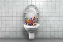 Microbios del asiento del inodoro, ilustración digital conceptual . - foto de stock