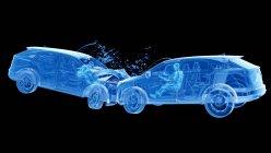 Рентгенівська ілюстрація ризику травмування в той час, коли голова-на автокатастрофі, цифрова ілюстрація. — стокове фото