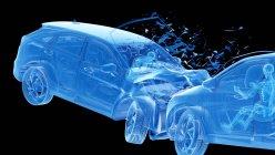 Ilustración de rayos X del riesgo de lesiones durante el choque frontal del automóvil, ilustraciones digitales . - foto de stock