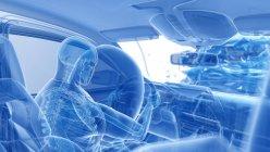 Рентгеновская иллюстрация риска травмы при лобовой автокатастрофе, цифровые произведения искусства . — стоковое фото
