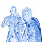 3d ilustración digital de dos hombres abstractos con esqueletos visibles boxeo sobre fondo blanco . - foto de stock