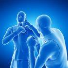 3d ilustración digital de dos hombres abstractos boxeo sobre fondo azul . - foto de stock