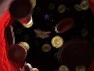 Células sanguíneas enfermas con bacterias, ilustración por computadora . - foto de stock