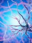 Célula nerviosa con muchas dendritas sobre fondo azul, ilustración digital . - foto de stock