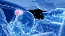 X-ray illustration of risk of brain injury while head-on car crash, digital artwork. — Stock Photo