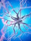 Célula nerviosa con axón de color rosa sobre fondo azul, ilustración digital . - foto de stock