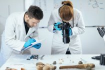 Young archaeology researchers documenting lithics with camera in laboratory and taking notes. — Stock Photo