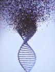 Ilustración digital de la molécula de ADN con daño, concepto de trastorno genético . - foto de stock